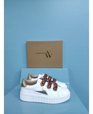 Baskets blanches en cuir à...